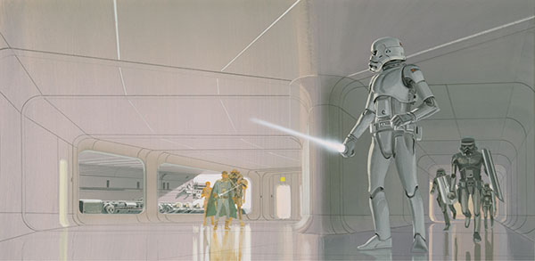 Early Ralph McQuarrie Painting of the Death Star Rescue