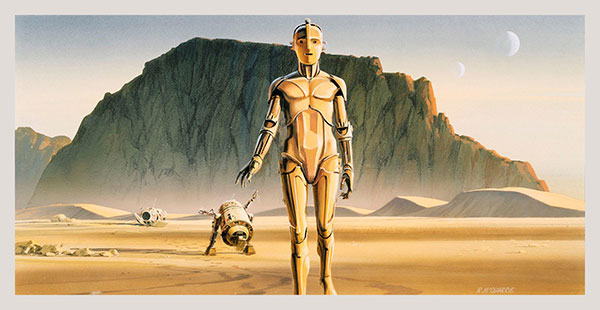 Early Ralph McQuarrie Painting of Droids