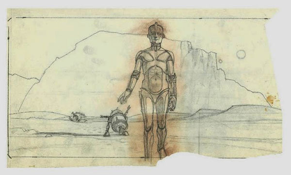 Early Ralph McQuarrie Sketch of droids