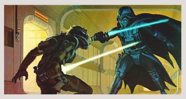 Early Ralph McQuarrie Painting of Lightsaber Duel